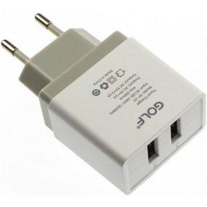 Сетевое зарядное устройство GOLF GF-U2 Travel charger + Lightning cable 2USB 2,1A White