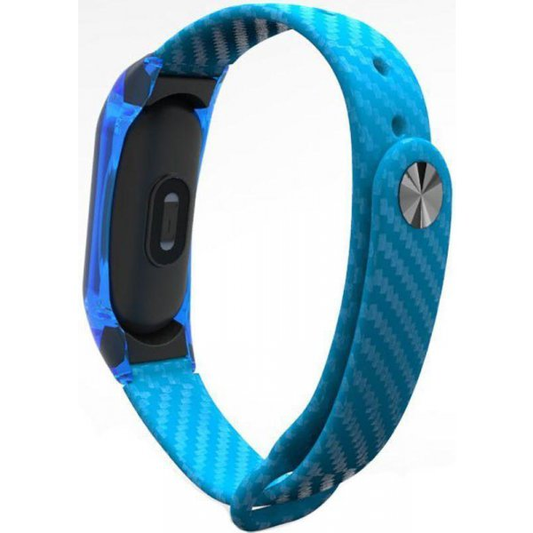 Ремешок UWatch Silicon Carbon Fiber Crystal PC Frame Replacement Wrist Band For Mi Band 2 Blue