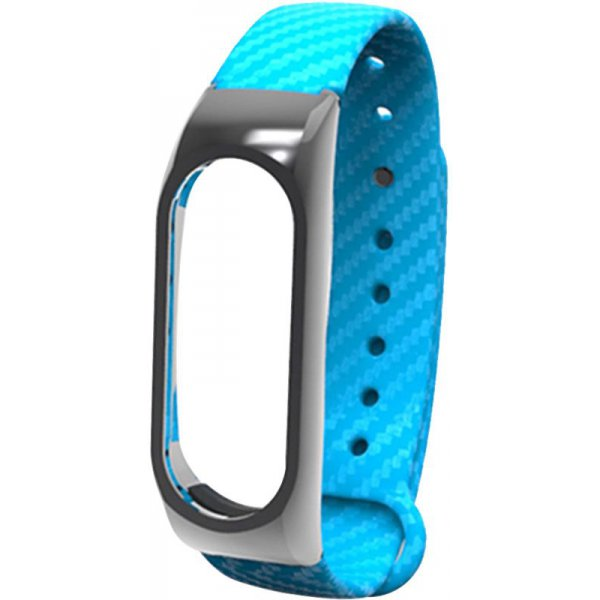 Ремешок UWatch Silicon Carbon Fiber Plastic Frame Replacement Wrist Band For Mi Band 2 Blue