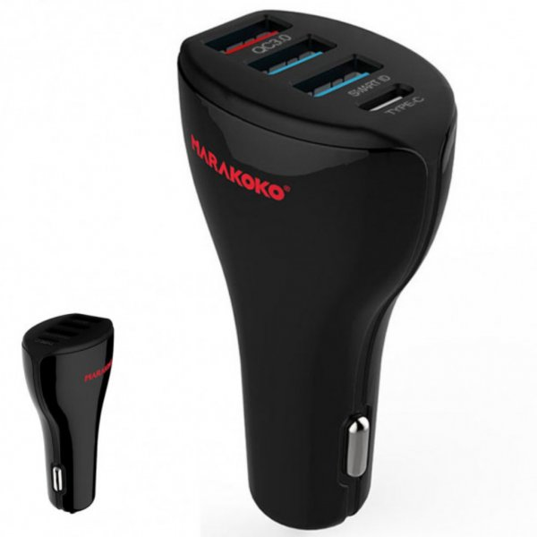 Автомобильное зарядное устройство MARAKOKO MAC3  4-Port USB Quick Charge 3.0 3A Black