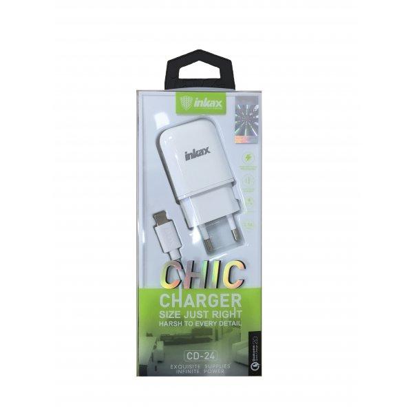 Сетевое зарядное устройство INKAX CD-24 +  cable Type-C 1-Port USB Quick Charge 2.0 2.1A White