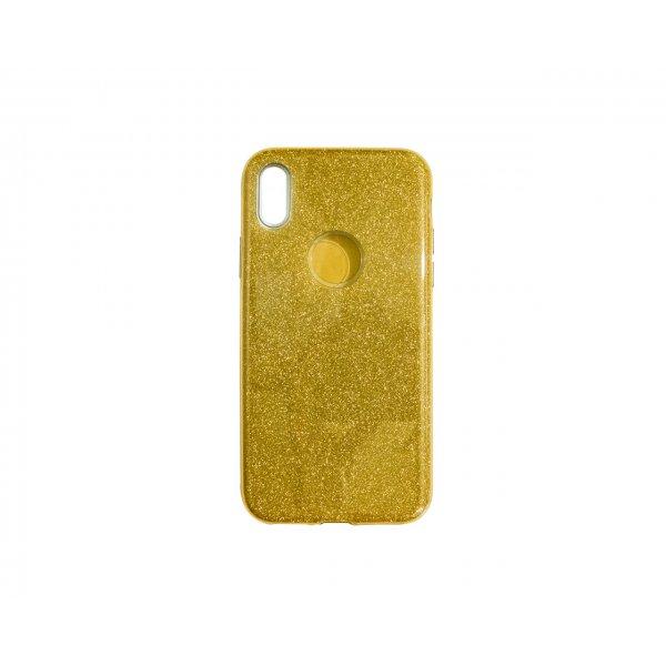 Силикон блестки Хром IPhone X Gold