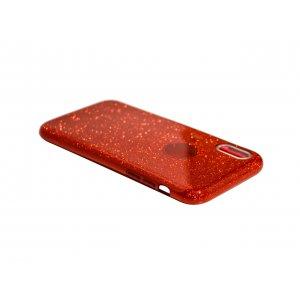 Силикон блестки Хром IPhone X/Xs Red